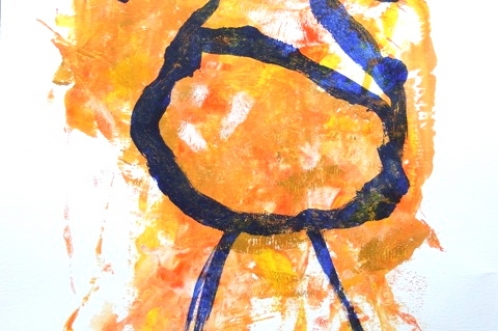 Staande vogel, acryl op papier